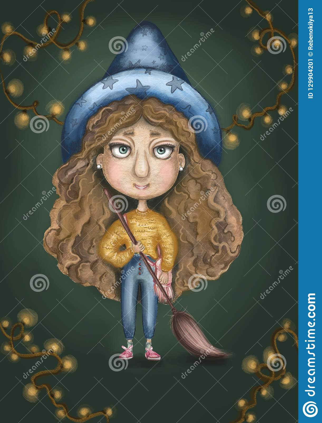 Witch girl with a flying broom in hands, yellow sweater, curly hair and a big blue hat