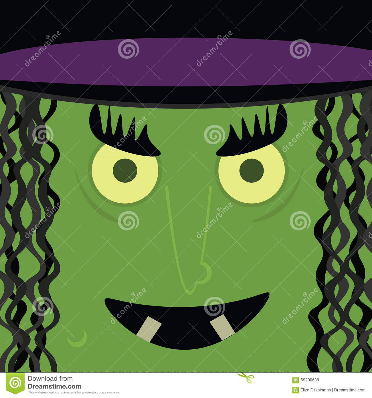 Witch stock vector image 59200688 - Scary yellow eyes ...