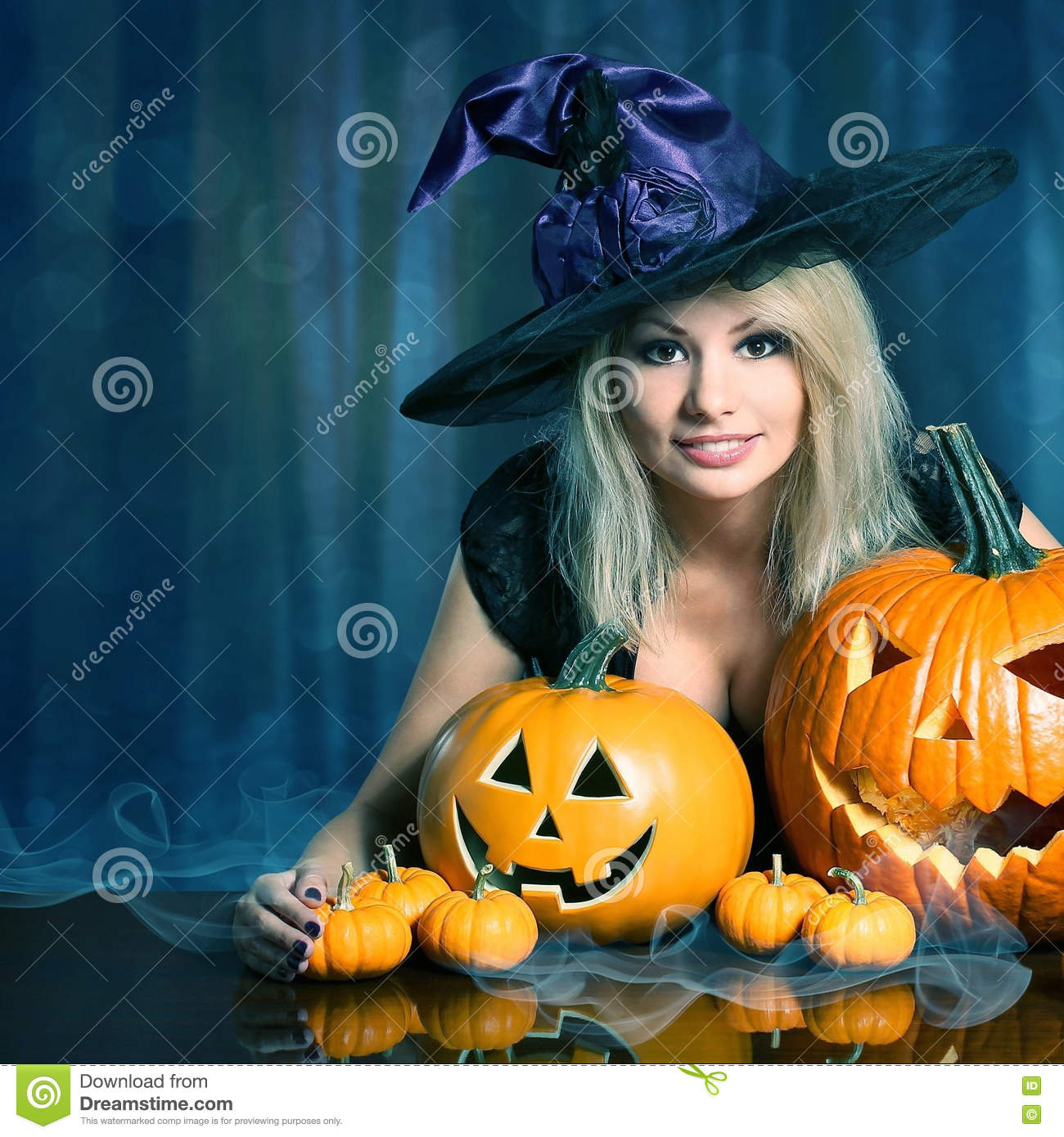 Witch with Halloween Pumpkins