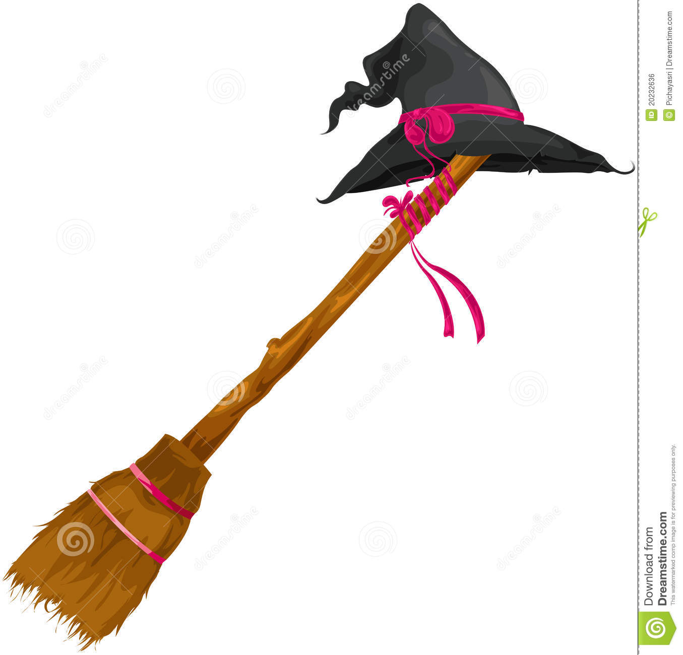 Witch Hat With Broom Royalty Free Stock Image - Image: 20232636