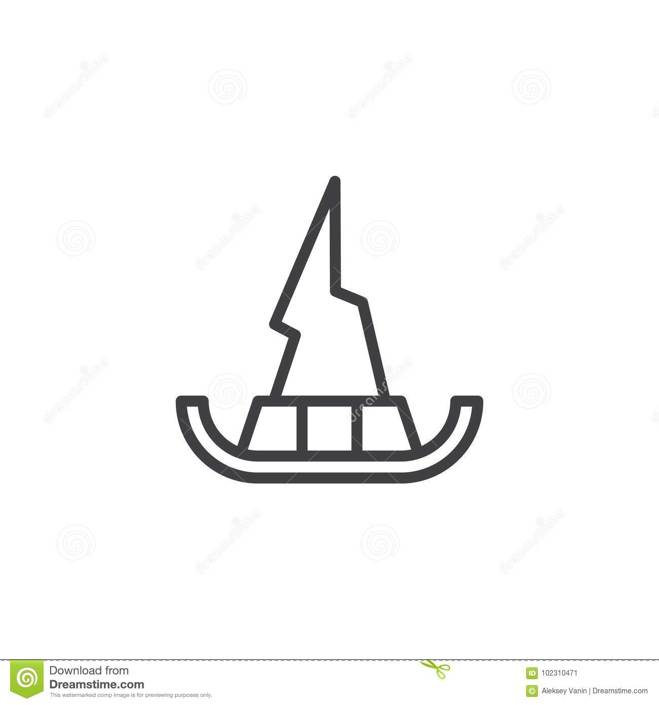 Witch Hat Line Icon Stock Vector Illustration Of Perfect 102310471