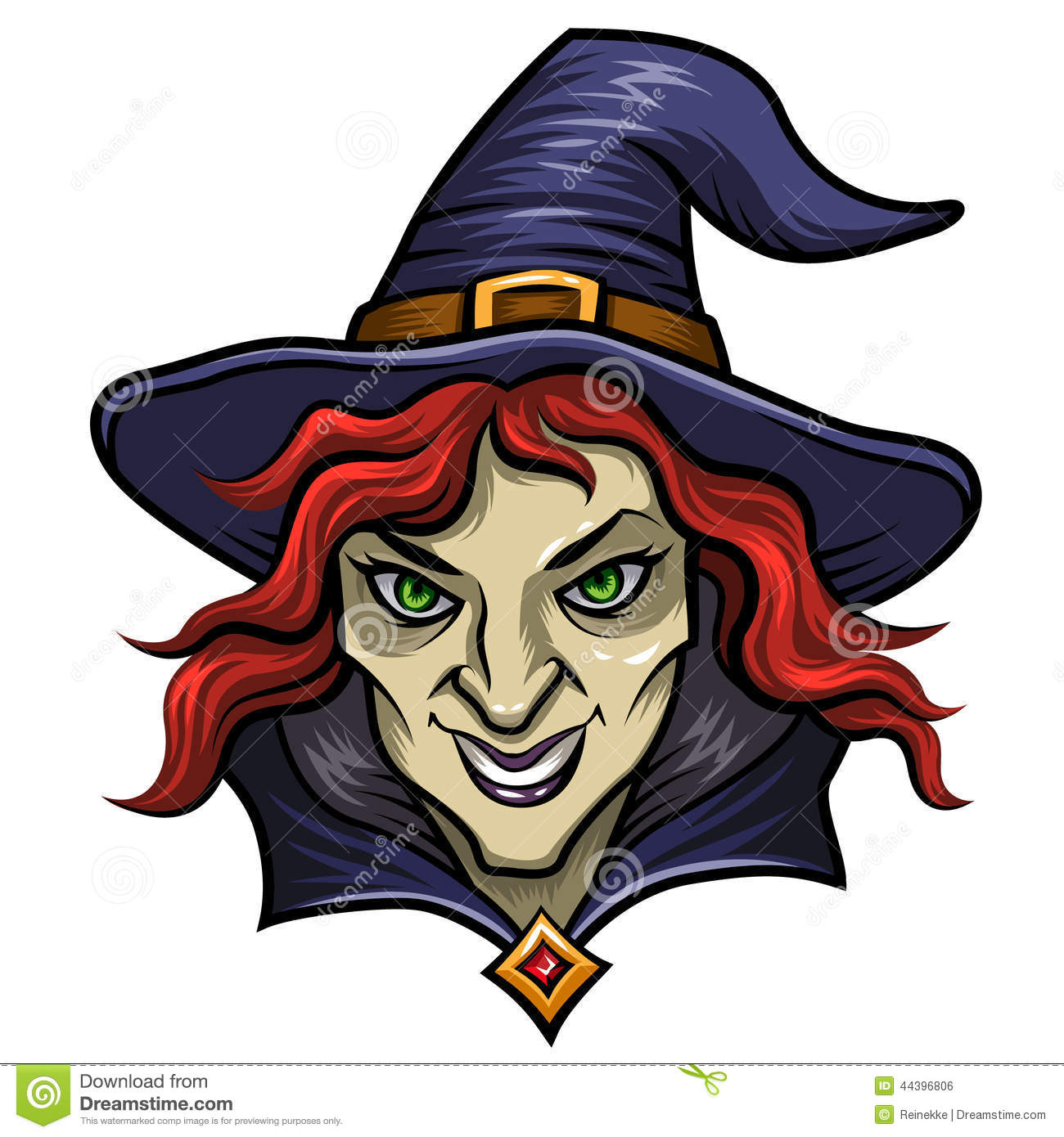 Smiling witch in hat. Cartoon character for Halloween.