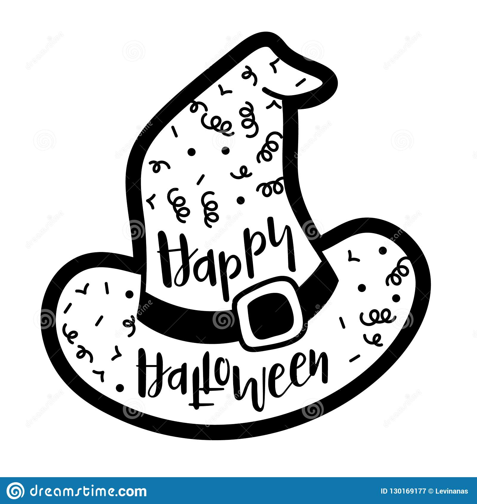 Witch Hat Template Saying Happy Halloween Stock Vector Illustration Of Sign Banner 130169177