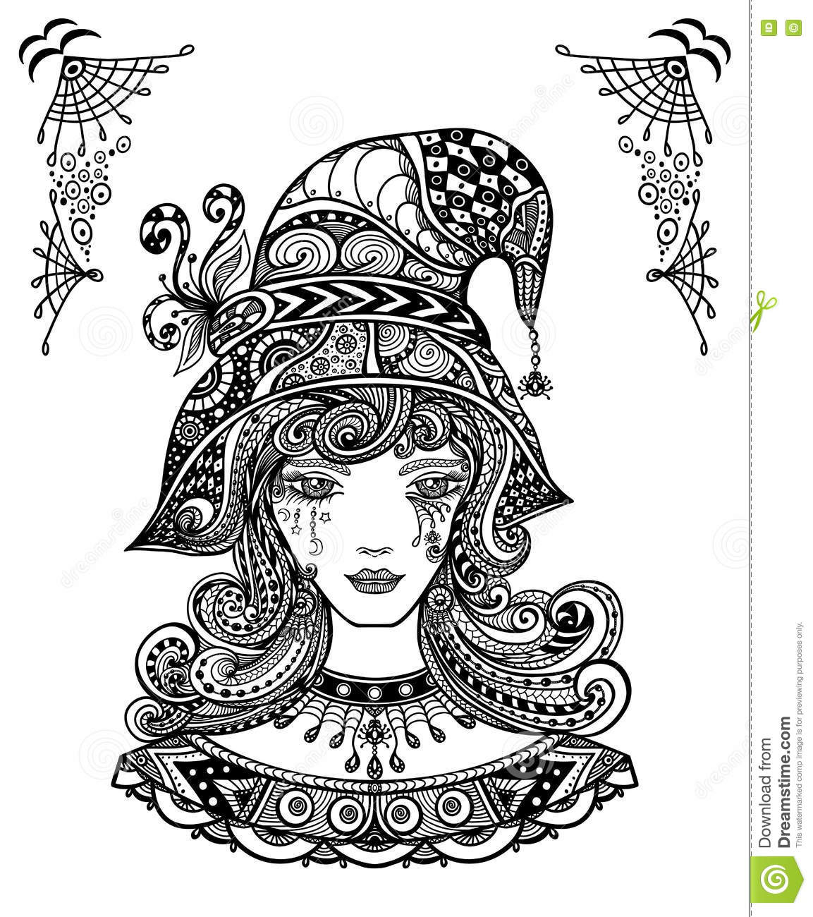 witch in hat in zen doodle or zen tangle decorative l style black
