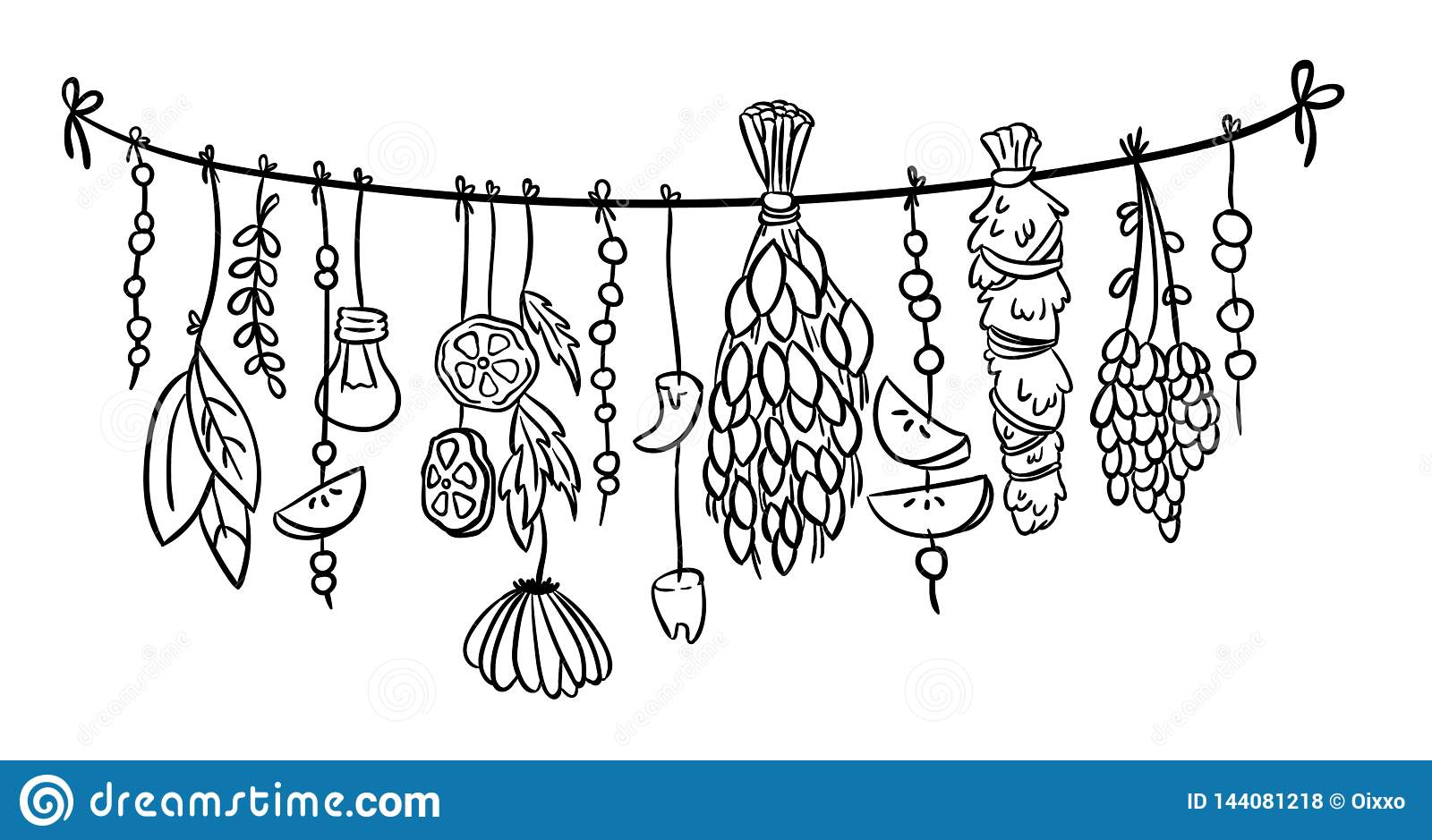 Witch Herbs Boho Hanging Doodle Decoration  Vector Isolated
