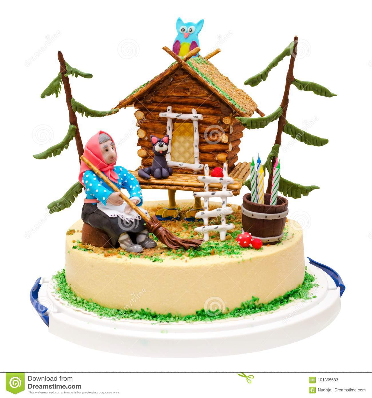 Witch and house cake with forest, owl, cat, candle, isolated on white