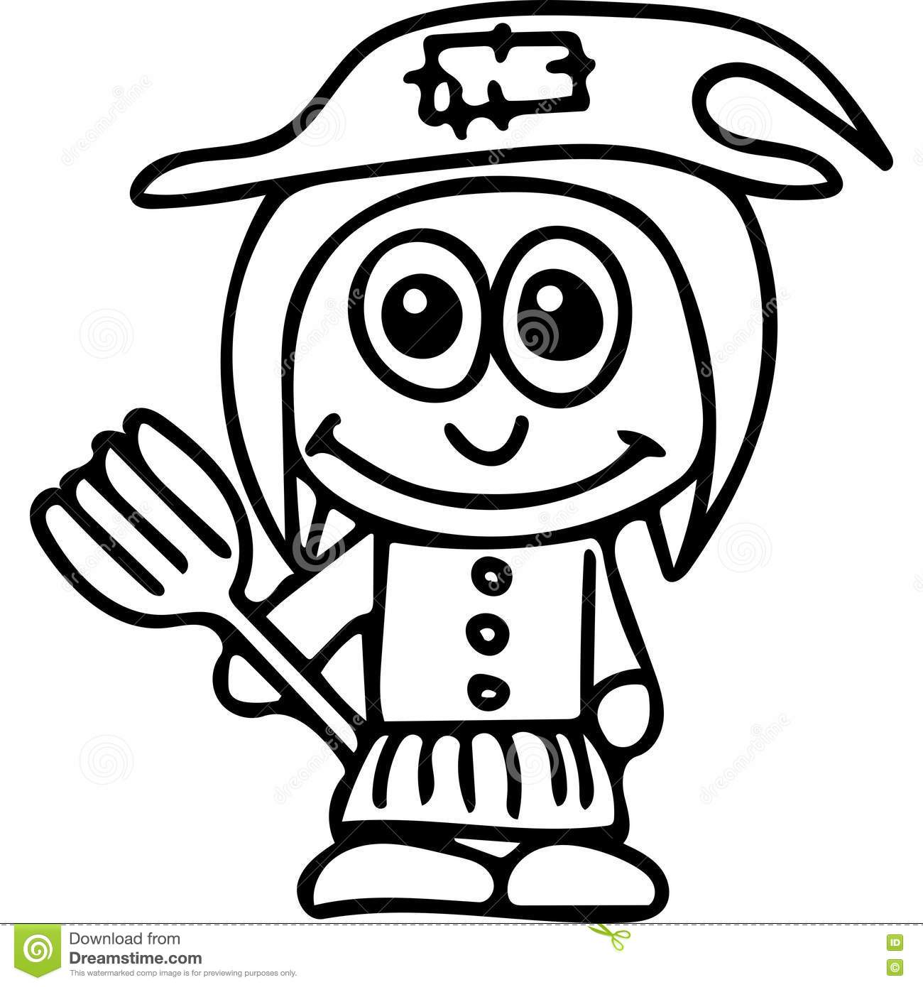 Witch kids coloring page stock illustration. Illustration of ...