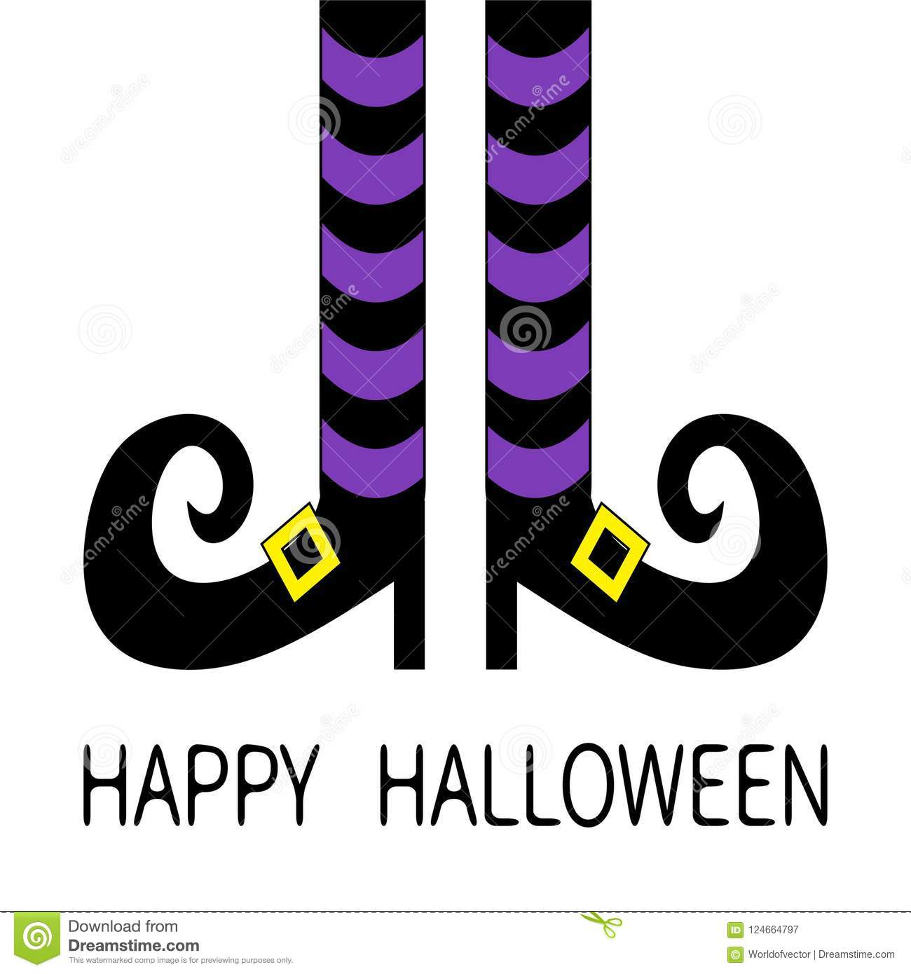 Witch Legs With Violet Striped Socks And Shoes Golden Buckle Happy