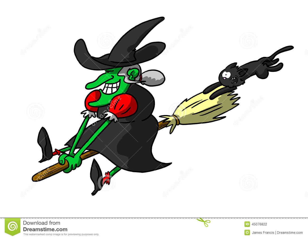 Cat Friendly Home Design Witch Riding Broom With Cat In Tow