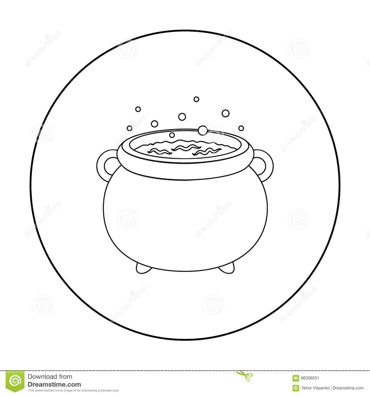 Witchs Cauldron Icon In Outline Style Isolated On White Background