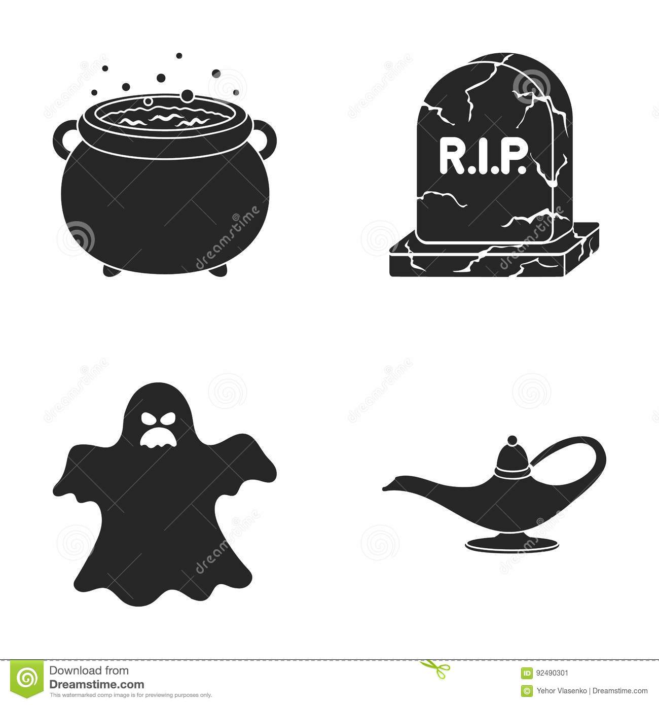A witch`s cauldron, a tombstone, a ghost, a gin lamp.Black and white magic set collection icons in black style vector