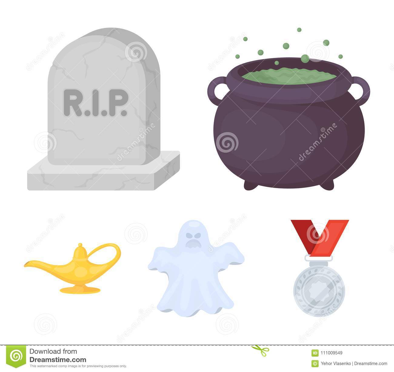 A witch`s cauldron, a tombstone, a ghost, a gin lamp.Black and white magic set collection icons in cartoon style vector