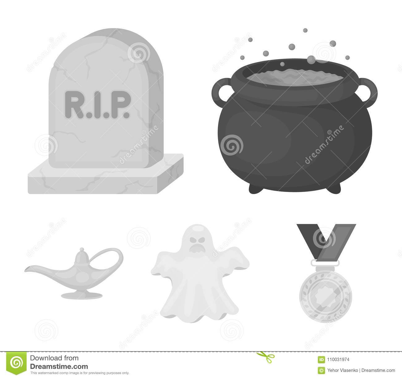A witch`s cauldron, a tombstone, a ghost, a gin lamp.Black and white magic set collection icons in monochrome style