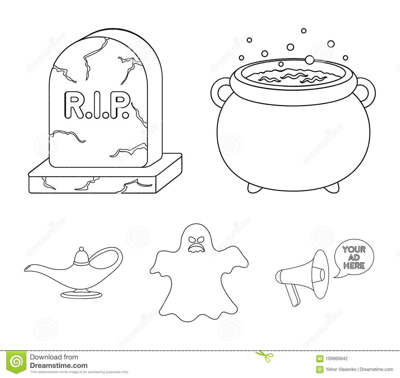 A witch`s cauldron, a tombstone, a ghost, a gin lamp.Black and white magic set collection icons in outline style vector