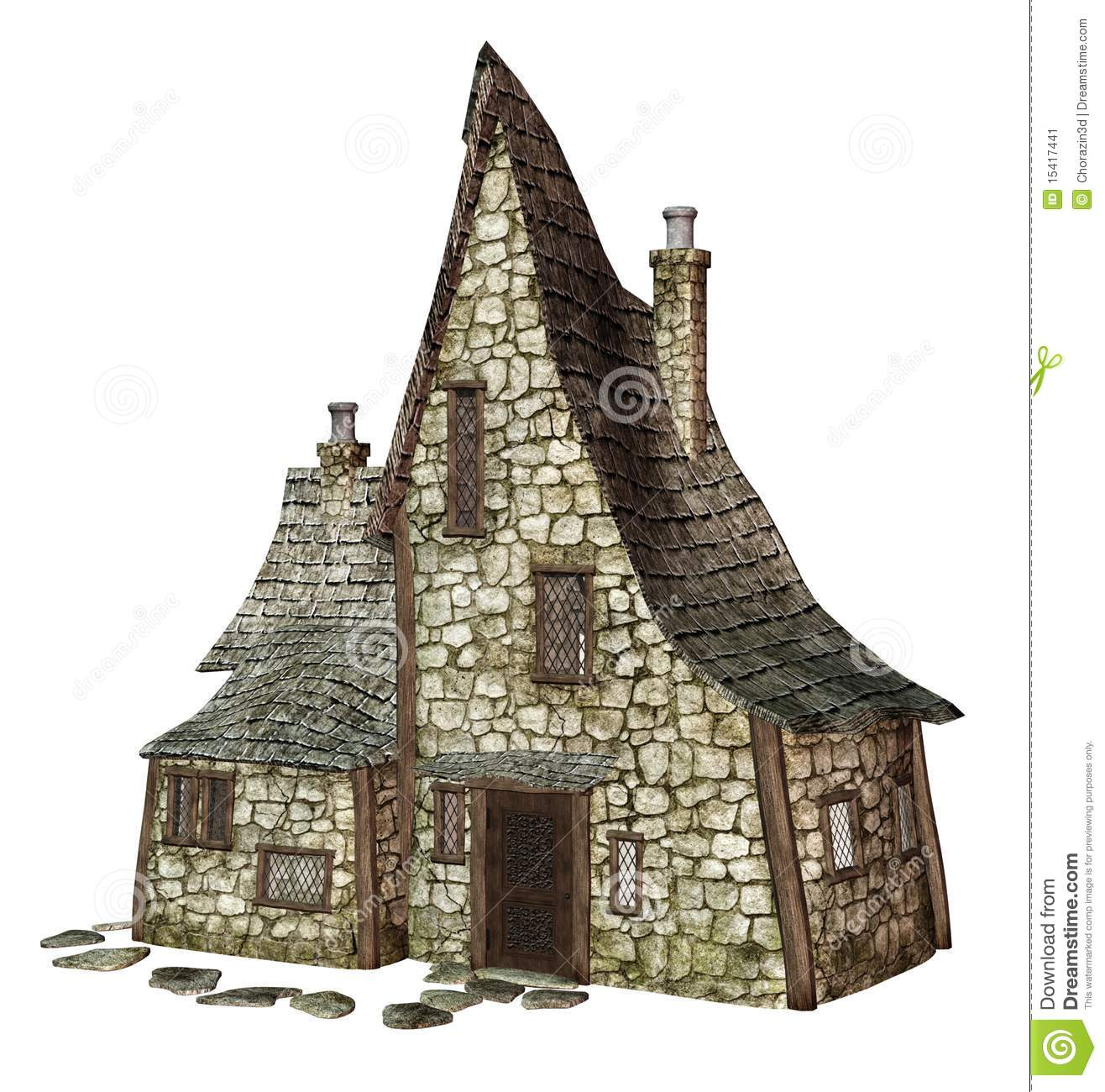 Witch 39 s cottage 1 stock illustration illustration of for Witches cottage house plans