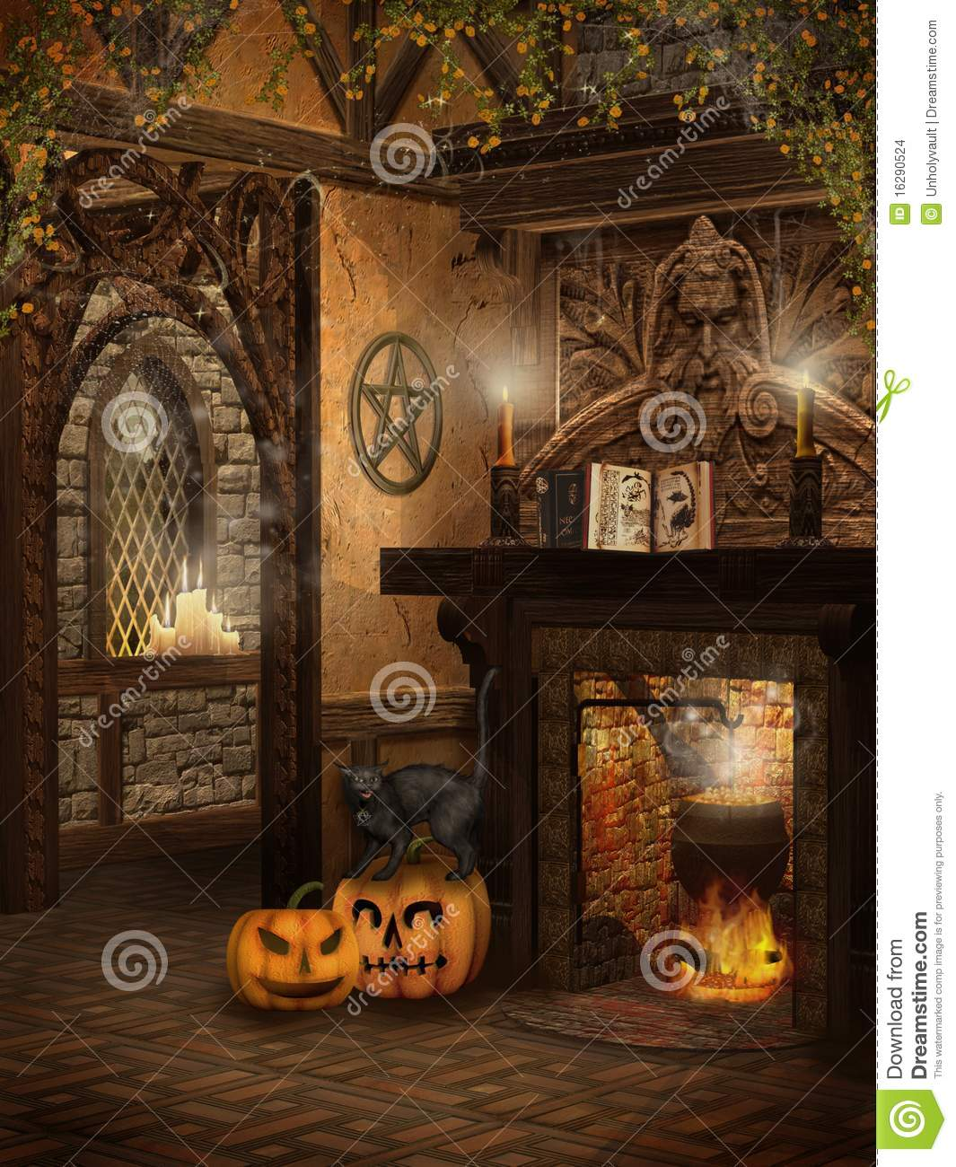 Witch S Cottage With Pumpkins Stock Illustration Image