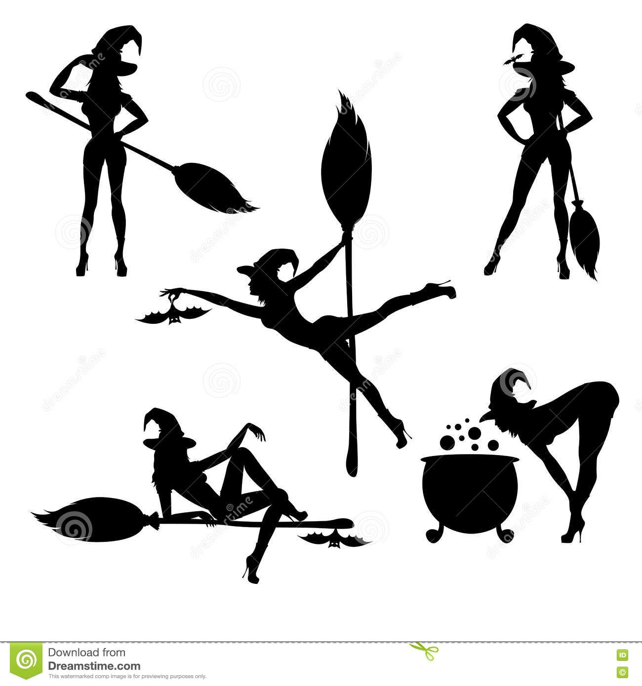 Witch silhouette with broom , cauldron , and a bat