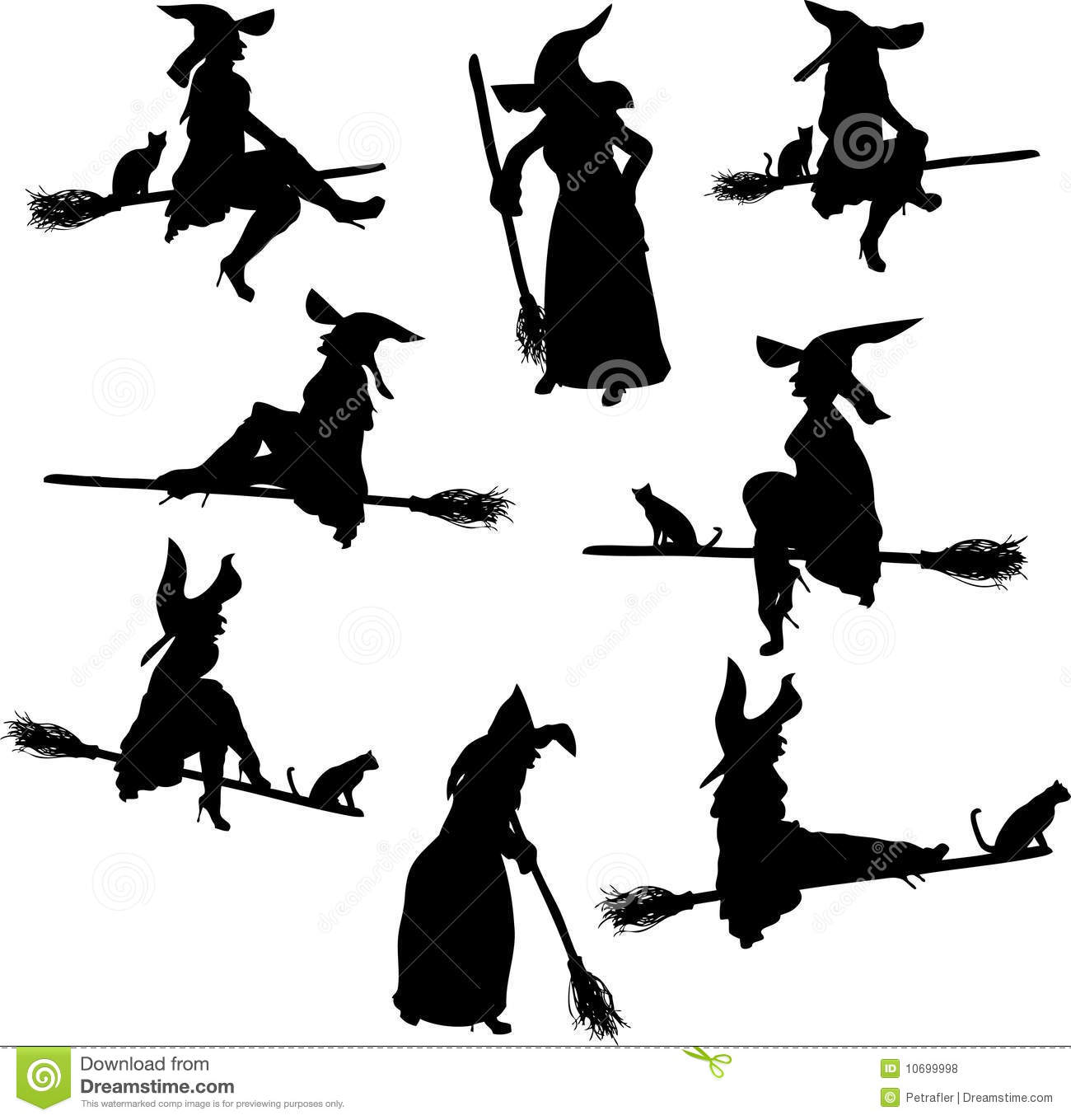 Witch Silhouettes stock vector. Illustration of autumn - 10699998