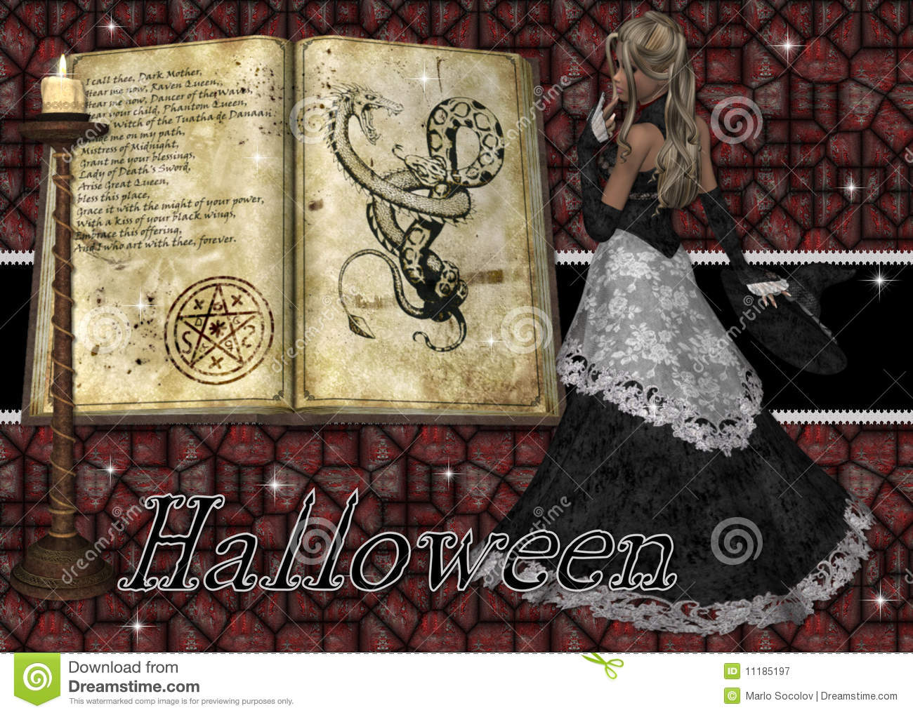 Witch And Spell Book Halloween Background Stock