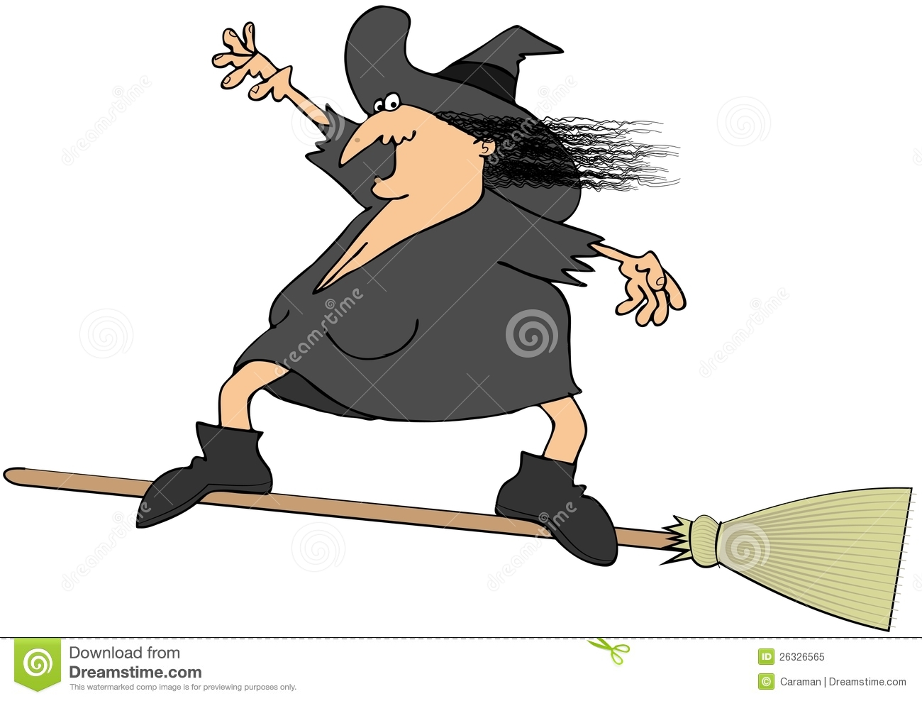 Witch Surfing On A Broom Royalty Free Stock Photo - Image: 26326565