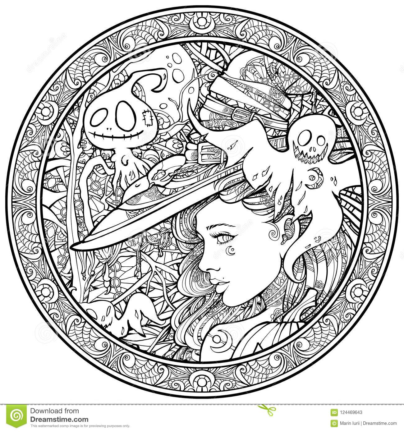 witch surrounded friendly ghosts ornametn frame coloring page adults