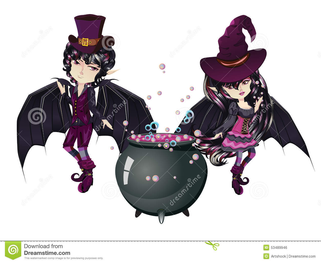 Witch And Vampire Stock Vector Illustration Of Isolated