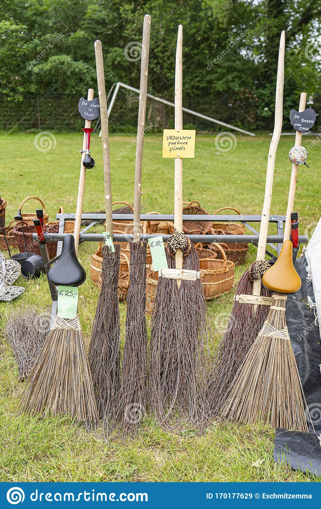 Witches Brooms In A Variety Of Designs At The Sheepshearingfestival In  Exloo, The Netherlands Stock Image - Image of harvest, season: 170177629