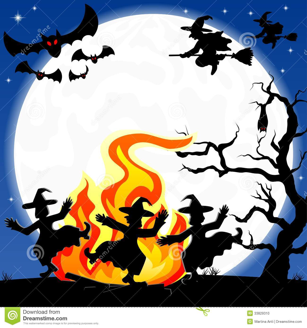 Stock Photo Witches Dancing Around Fire Halloween Vector Illustration Image33829310 on Free Bat House Design Plans