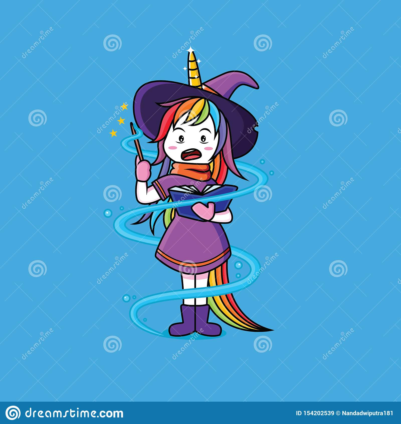 Witches Unicorn are learning magic wands