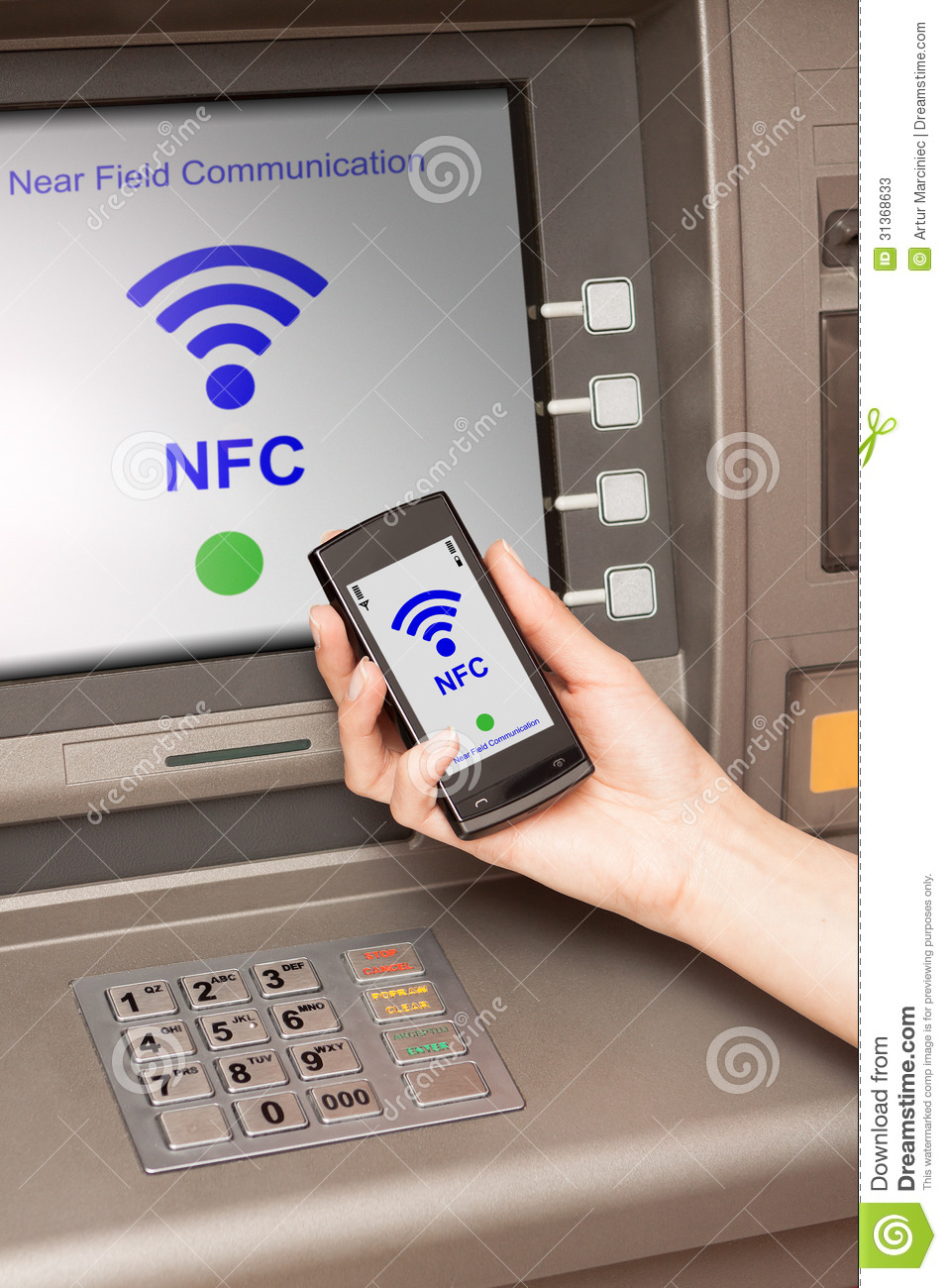 Withdrawing Money Atm With Mobile Phone A NFC Terminal ...