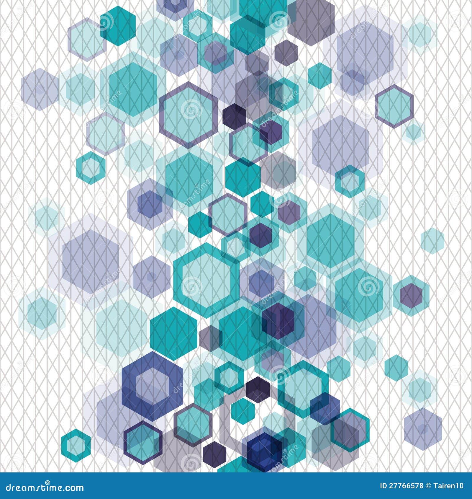 Withhexagons et réseaux géométriques bleus de fond