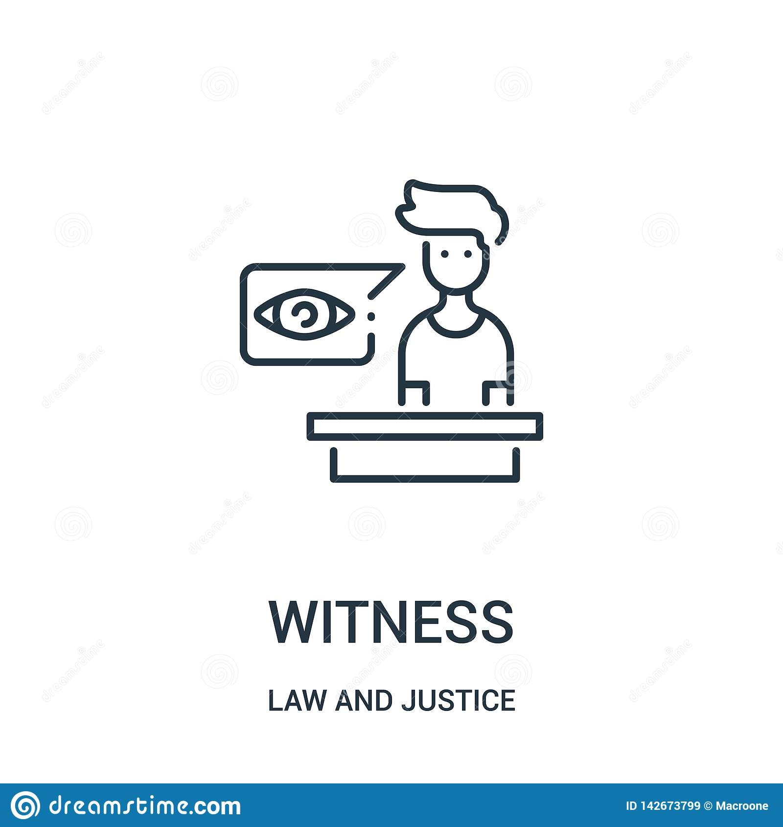 witness icon vector from law and justice collection. Thin line witness outline icon vector illustration. Linear symbol for use on