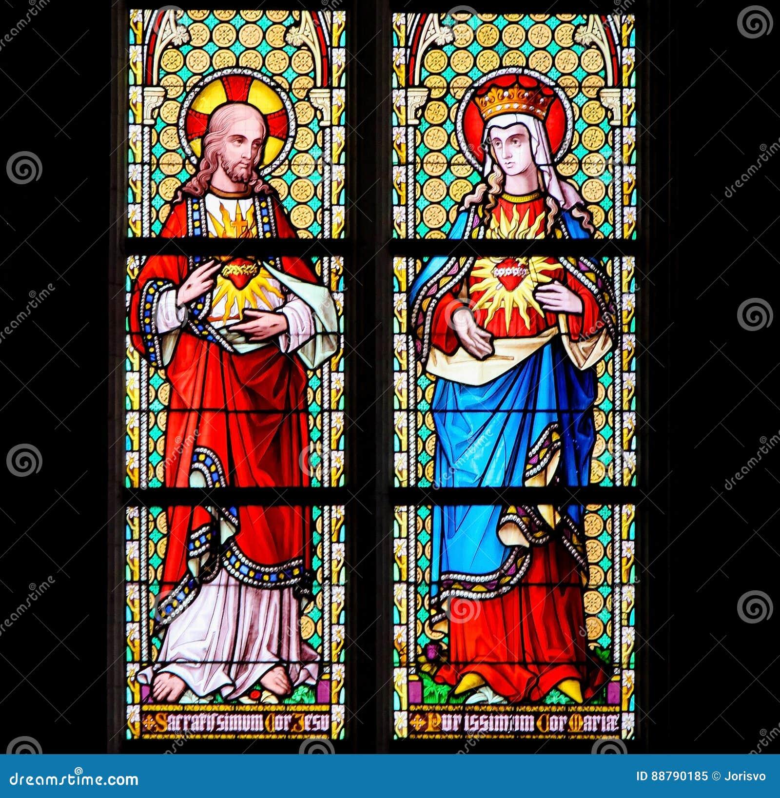 Witraż Święty serce Jezus i Najwięcej Czystego Mar serca -