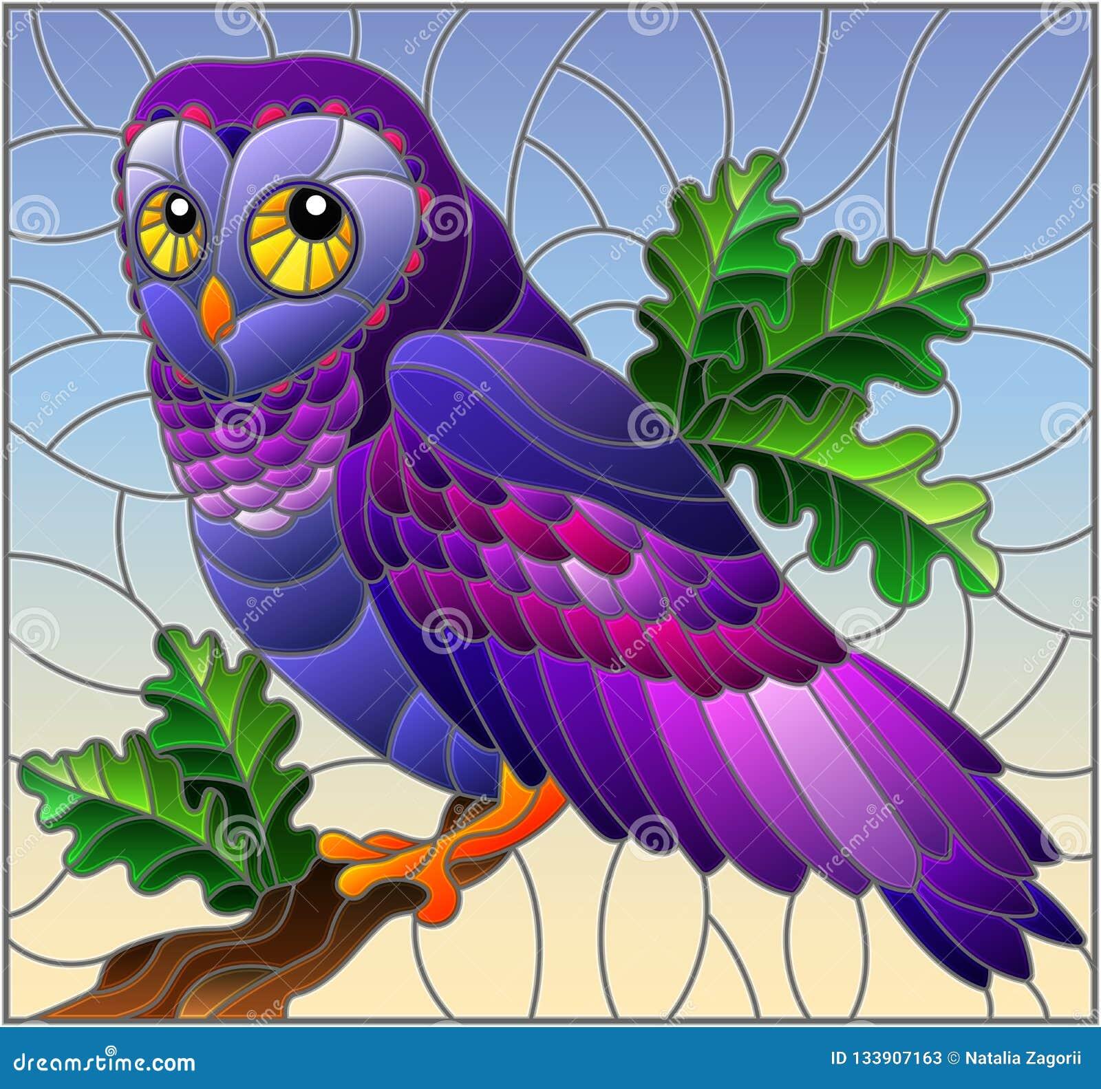 Witraż ilustracja z bajecznie colourful sowy obsiadaniem na gałąź przeciw niebu