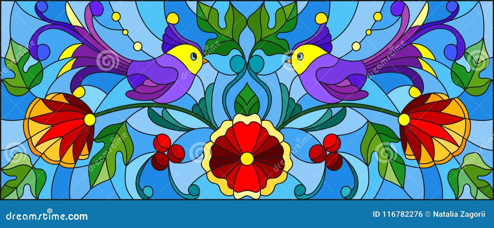 Witraż ilustracja z parą abstrakcjonistyczni purpurowi ptaki, kwiaty i wzory na błękitnym tle, horyzontalny wizerunek