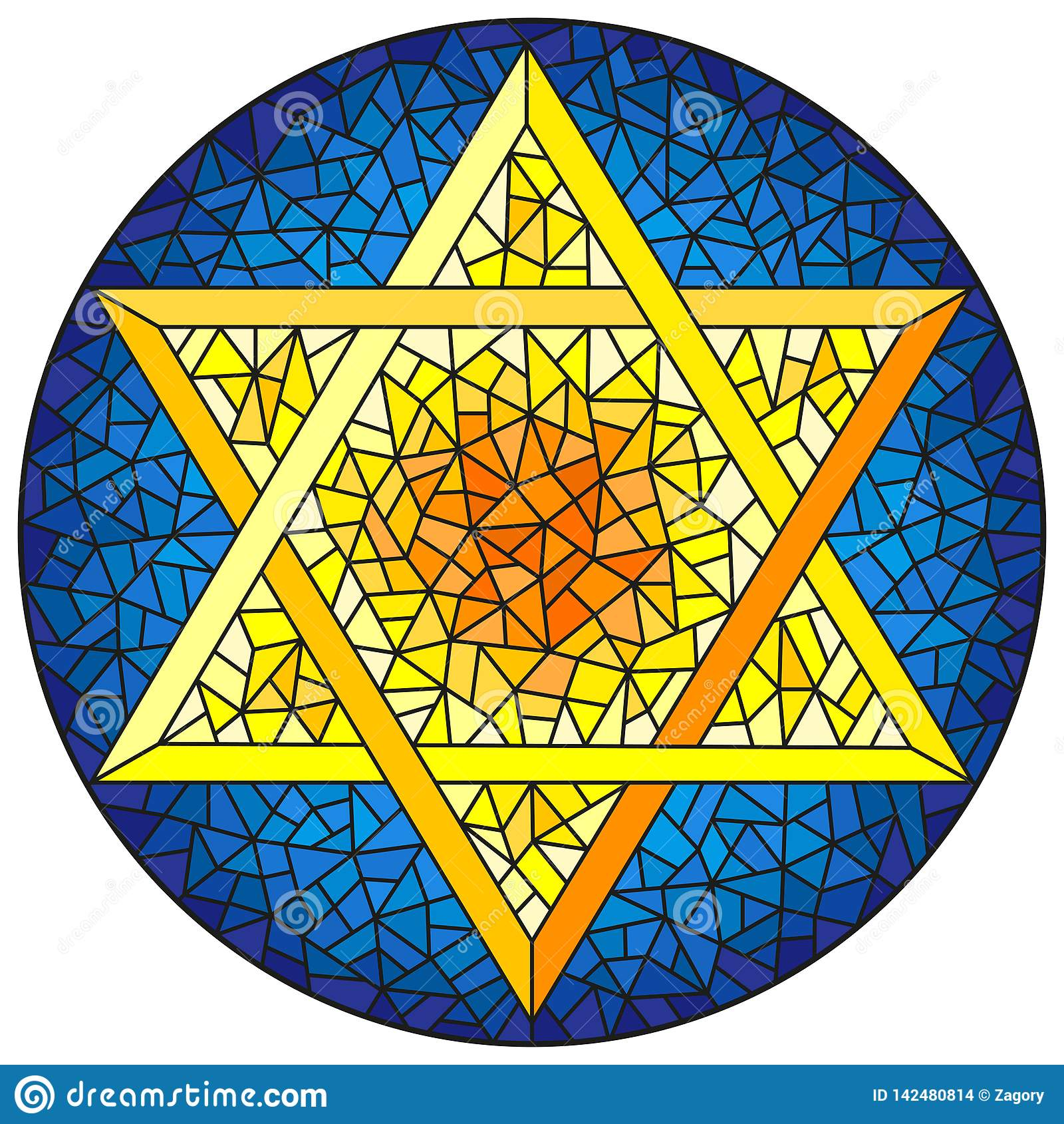 Witraż ilustracja z wskazującą gwiazdą dawidową, kolor żółty gwiazda na błękitnym tle, round wizerunek