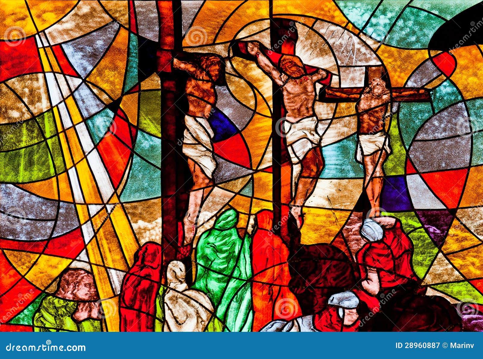 Witraż pokazuje Jezusowego krzyżowanie