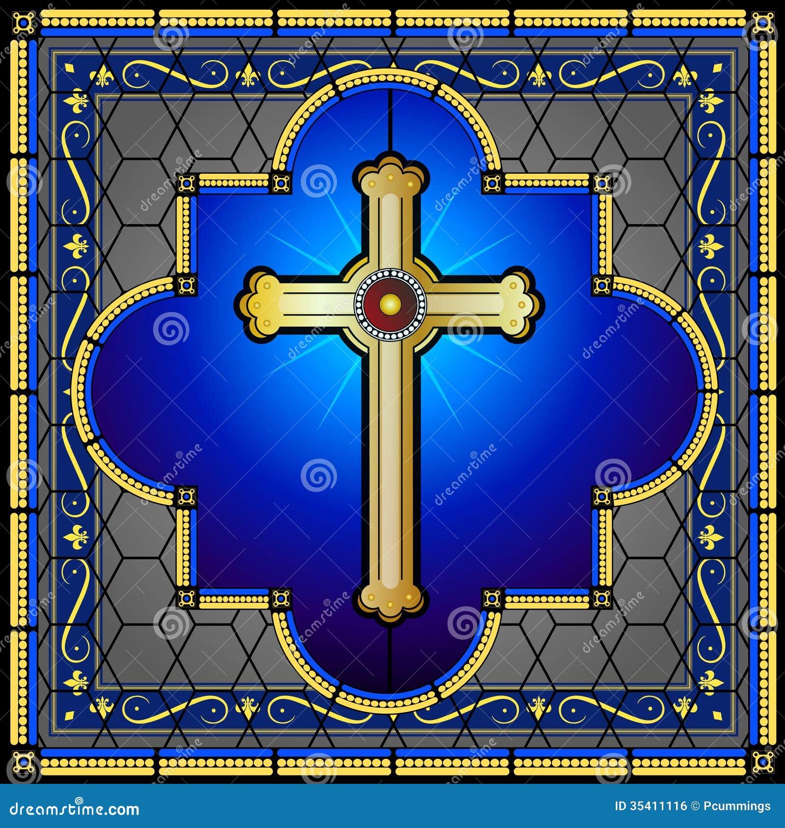Witrażu Chrześcijanina Krzyża Nadokienny Panel Ilustracji