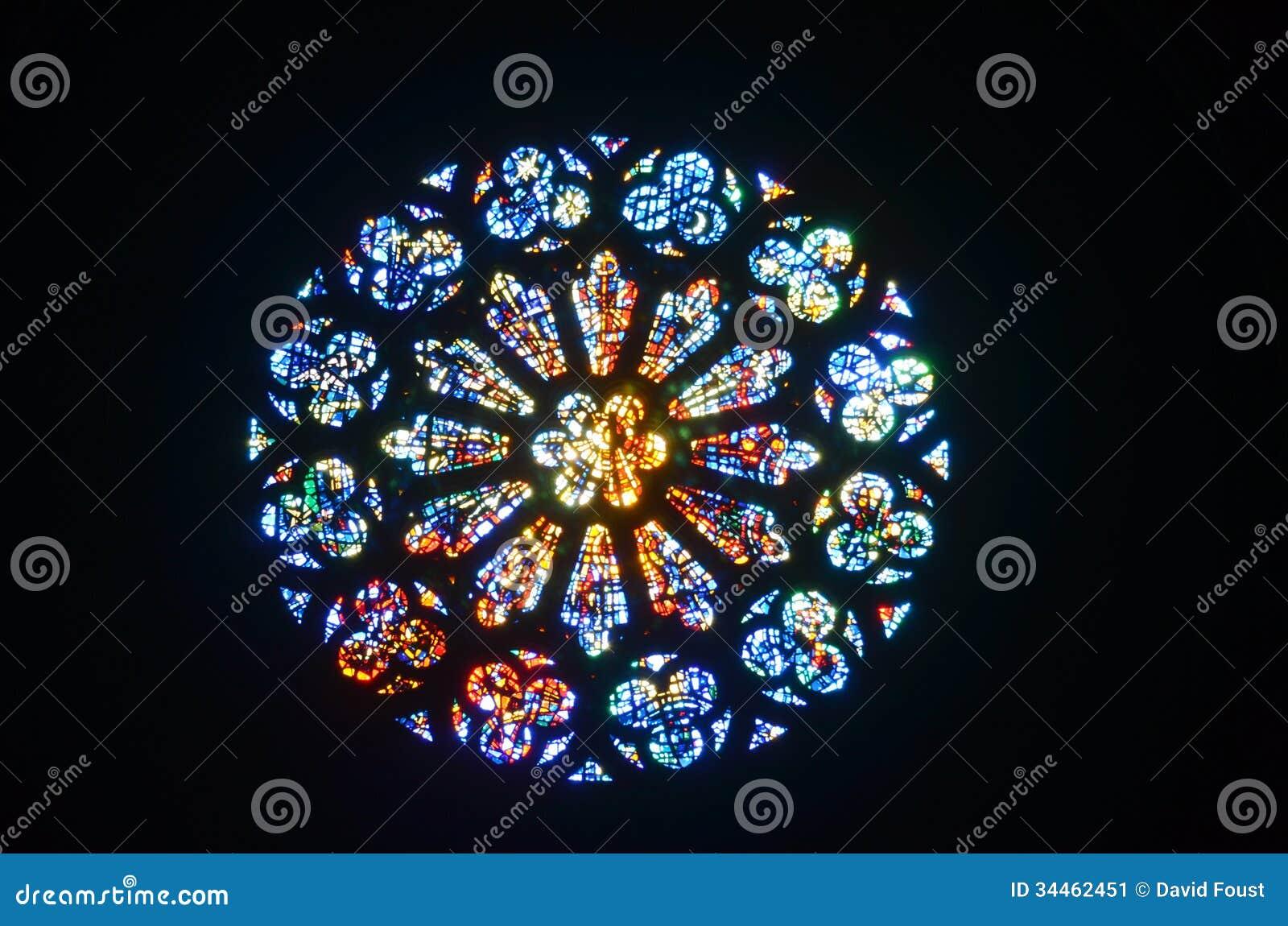 Witrażu Różany okno