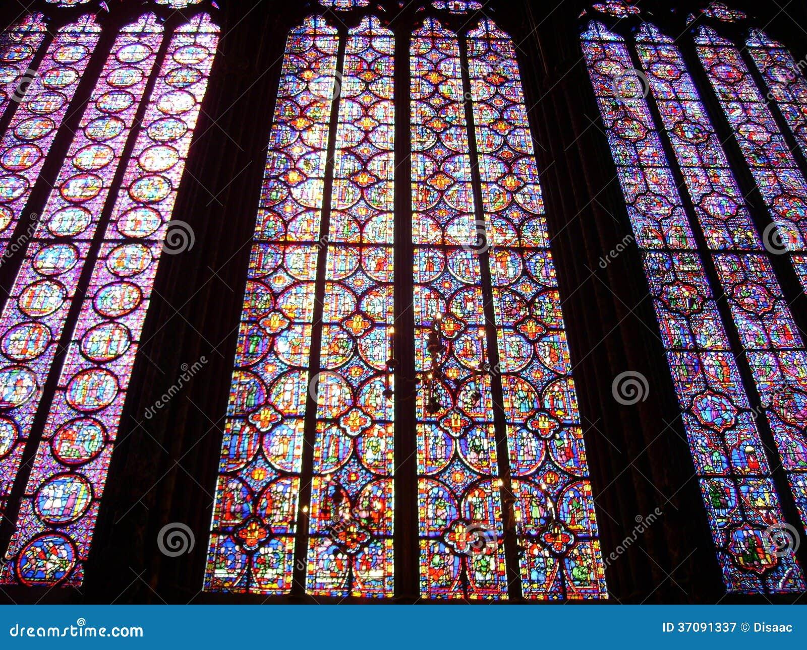 Download Witraży Okno, Sainte-Chapelle, Paryż Obraz Stock - Obraz złożonej z chrześcijaństwo, majestatyczny: 37091337