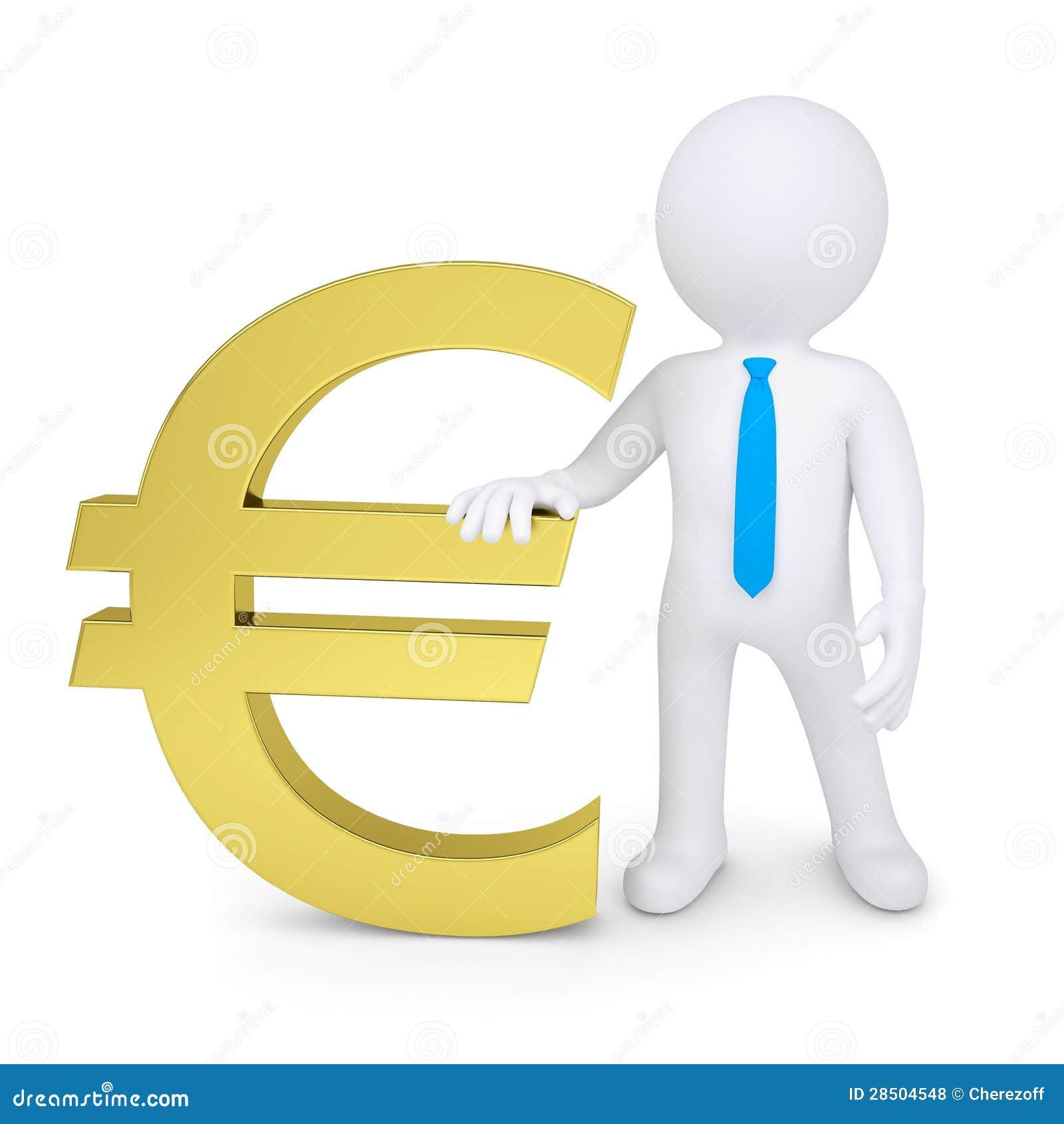 Witte 3d Mens Dichtbij Het Gouden Euro Teken Royalty-vrije Stock Foto ...