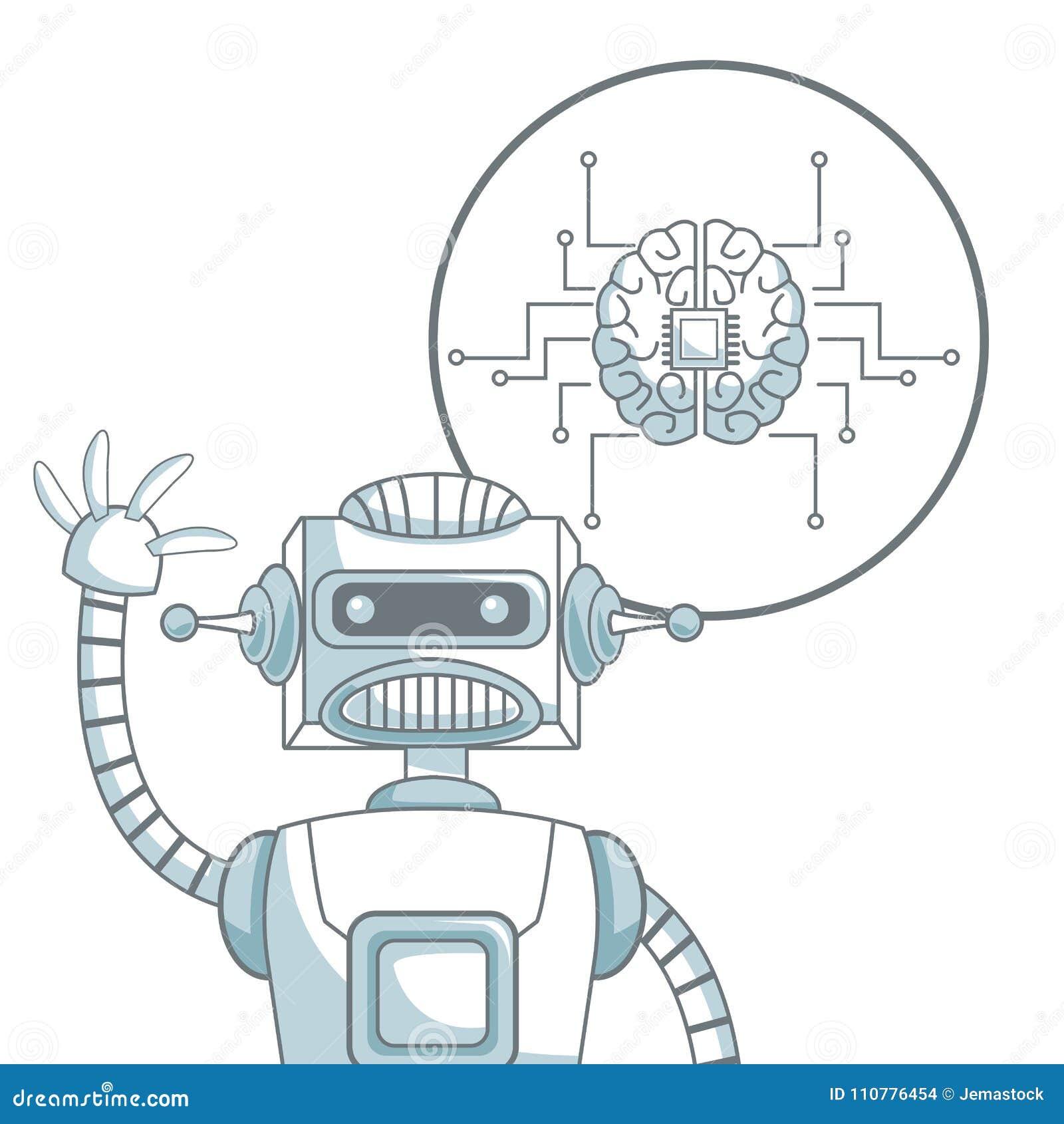 Witte achtergrond met de secties van de silhouetkleur het in de schaduw stellen van close-uprobot en pictogramhersenen met kringe