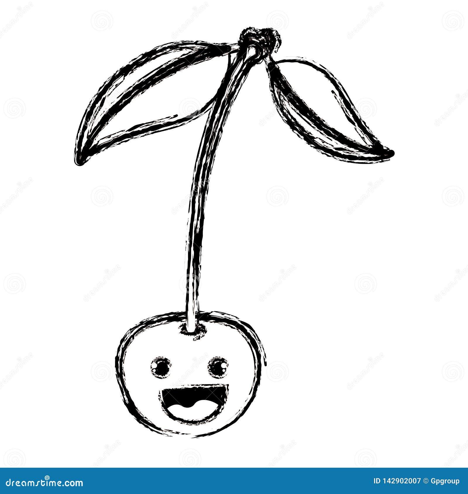 Witte achtergrond met zwart-wit vaag silhouet van het glimlachen van het fruit van de beeldverhaalkers