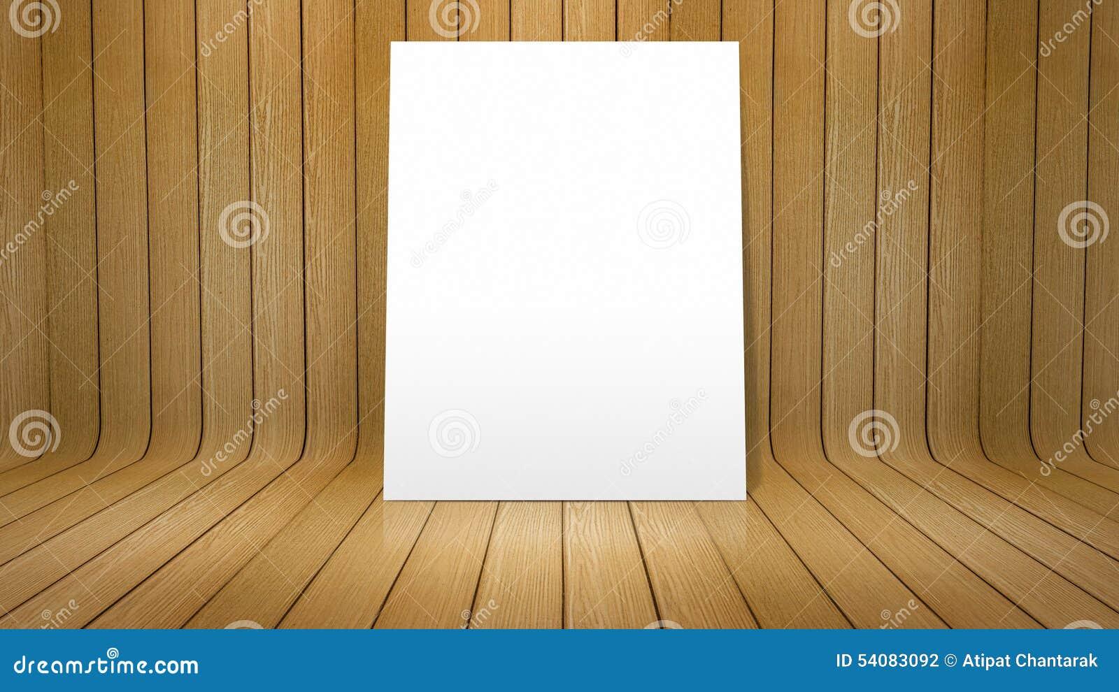 Witte affiche op gebogen houten achtergrond