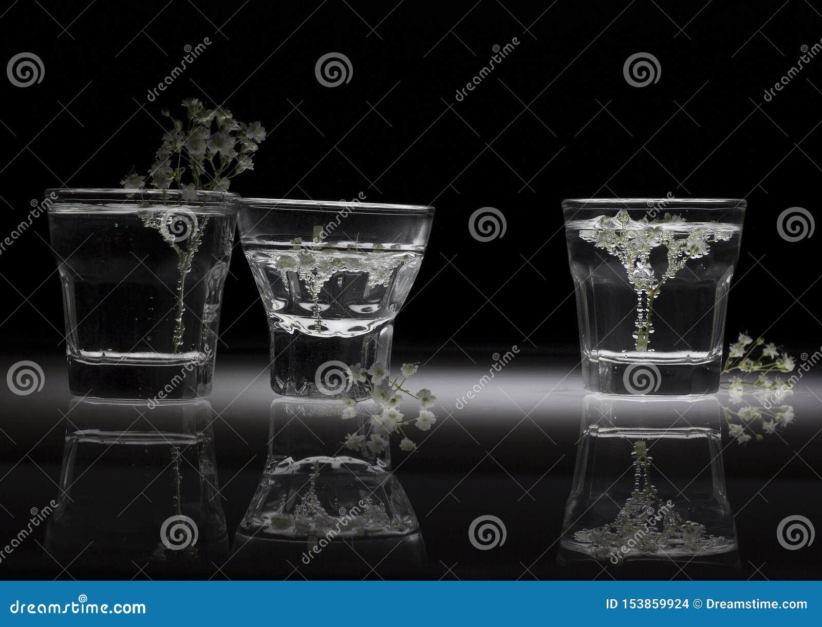 Witte Bloemen in Glazen met Bezinning
