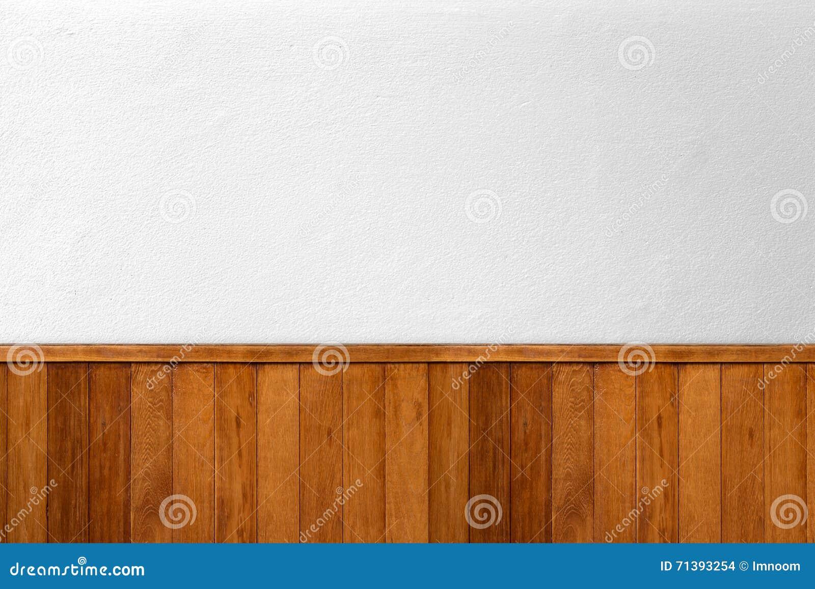 Muurdecoratie Van Hout.Witte Concrete Muurdecoratie Met Hout Stock Foto