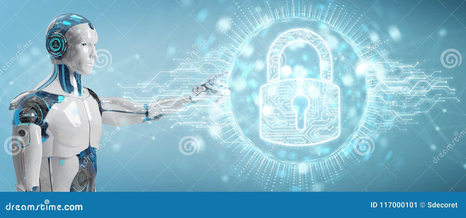 Witte cyborg die zijn datas met digitaal veiligheidshologram beschermen