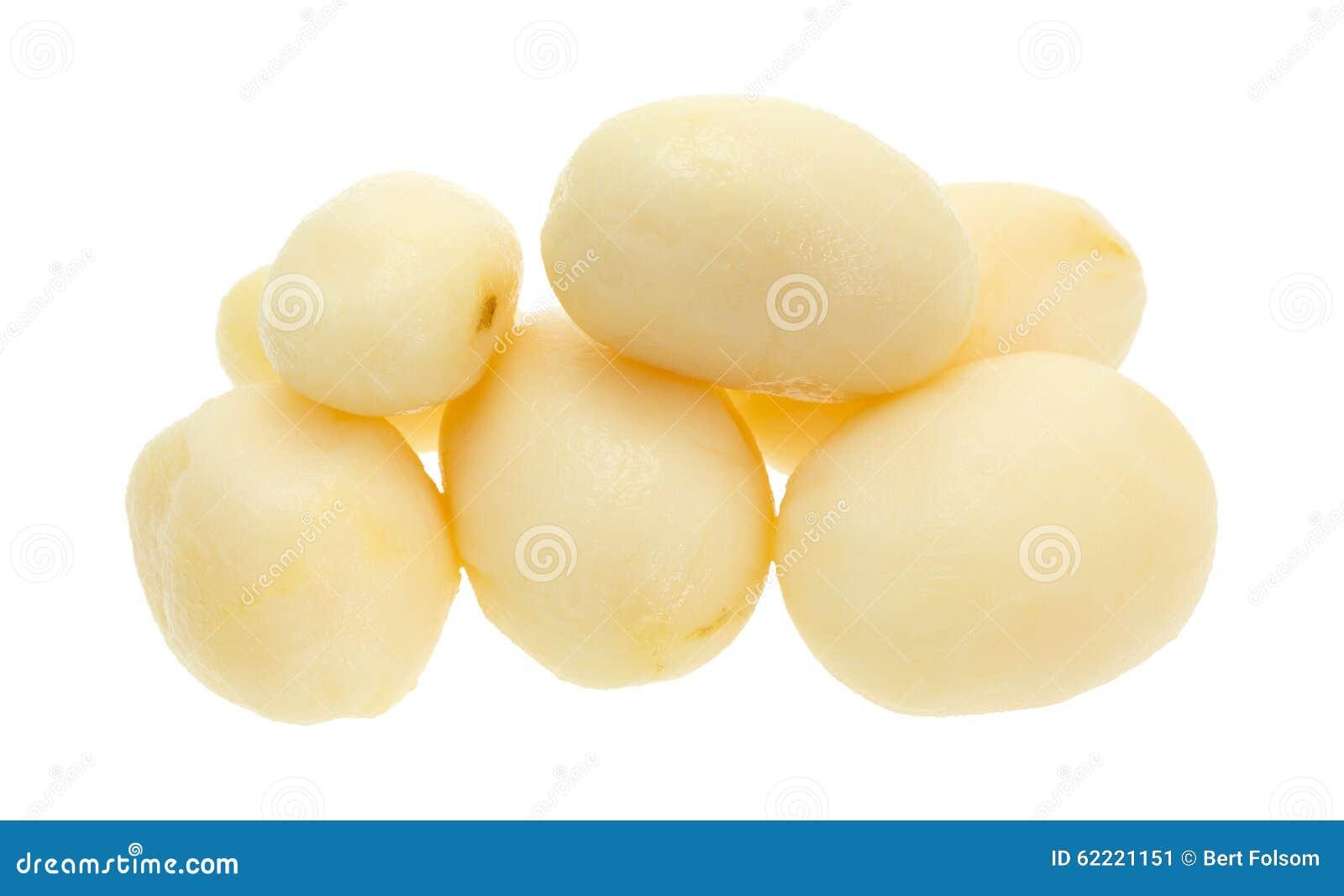 Witte die aardappels op witte achtergrond worden geïsoleerd