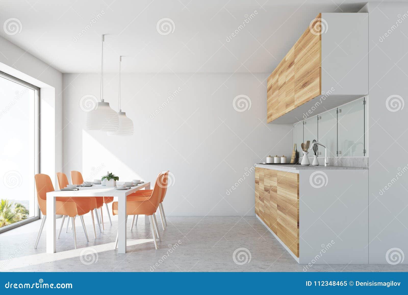 Eetkamer Van Oranje : Witte eetkamer en keuken oranje stoelen stock illustratie