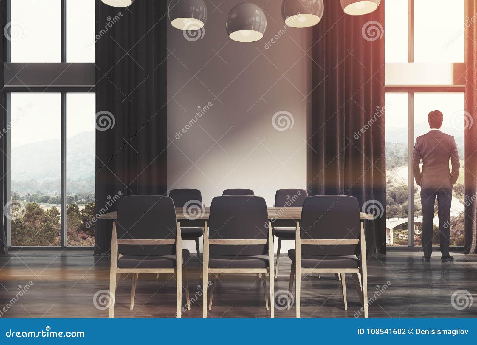 Witte Eetkamer, Zwarte Gordijnen Toend Stock Illustratie ...